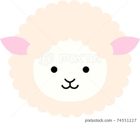 可愛的綿羊臉圖 74551227