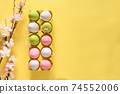 Easter pastel eggs in yellow carton box and spring blooming flowers on yellow. 74552006