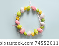 Colorful pastel easter eggs in plate as eggs. Easter greeting card. 74552011
