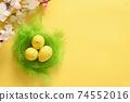 Quail easter eggs in nest and spring blomming flowers. 74552016