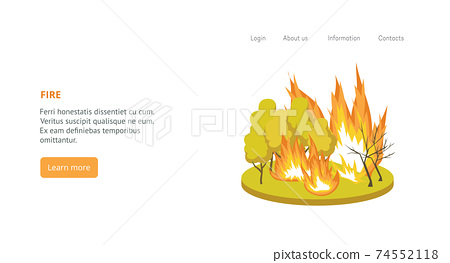 Natural disaster forest wild fire a vector landing page template. 74552118