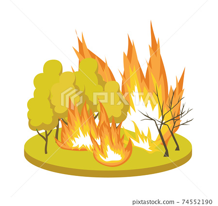 Natural Disaster symbol with forest fire, flat vector illustration isolated. 74552190