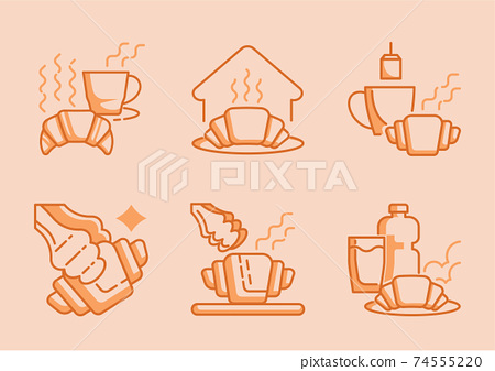 croissant and coffee icon 74555220