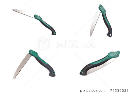 Folding hand saw lopper for pruning branches and tree on white background, isolate 74556085