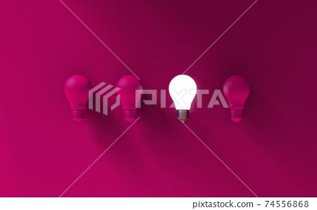 Light bulbs on pink background. Idea concept. 3D Illustration. 74556868