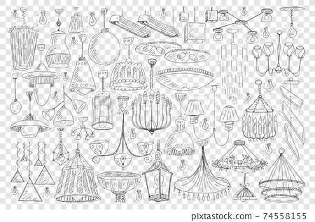 Chandeliers for home decoration doodle set 74558155