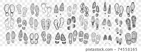 Footprints of boots and foot doodle set 74558165