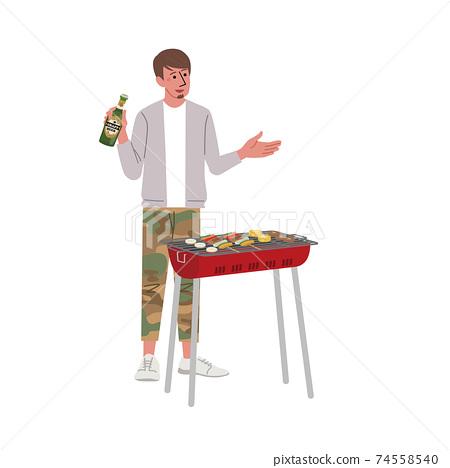 男子燒烤的插圖 74558540