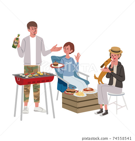 Illustration of men and women having a barbecue 74558541