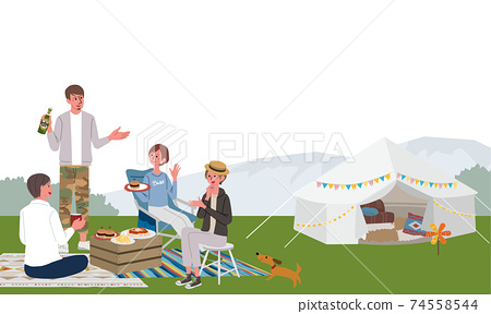 Illustration of men and women camping 74558544