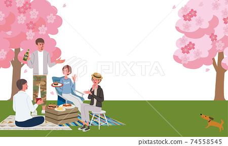 男人和女人看著櫻花櫻花春天的插圖 74558545