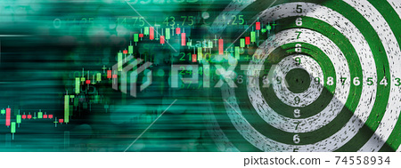 market stock graph with green dart board in business goal banner background 74558934