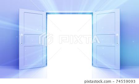 밝은 미래의 문 천국과 성공의 길. 3D 일러스트 74559093