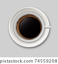 Modern realistic icon with black coffee cup top view. I 74559208