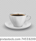 Illustration of porcelain cup on saucer with coffee. 74559209