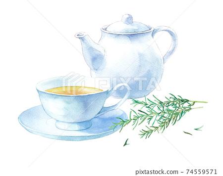 迷迭香茶具。水彩插圖跟踪矢量。白色茶壺和茶杯碟 74559571