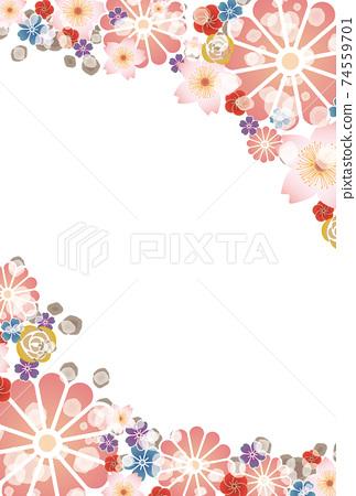 鮮花和模糊的小球-日本明信片-垂直 74559701
