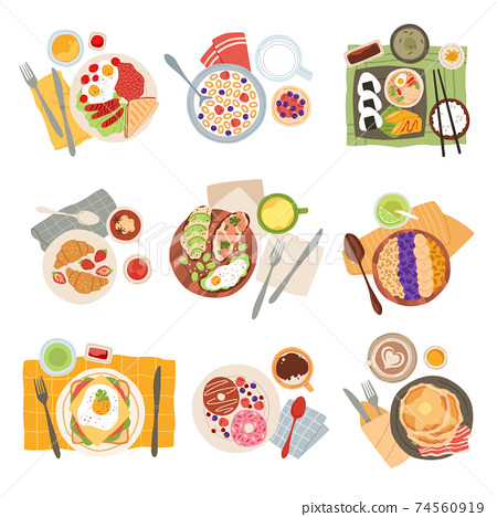 Breakfast meal. Morning tasty healthy food types, avocado toasts, americano coffee and doughnuts, pancakes with bacon, eggs and sandwich, oatmeal and croissants top view vector set 74560919