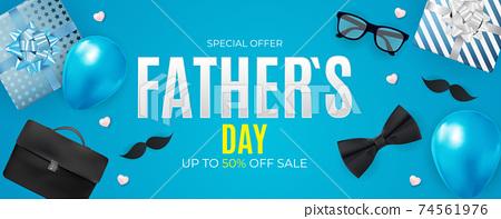 Father`s Day Sale Background. Poster, flyer, greeting card, header for website. Vector Illustration. EPS10 74561976
