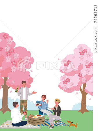 Illustration of men and women watching cherry blossoms Sakura Spring 74562718