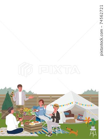 베란삔구을하는 남녀의 일러스트 피크닉 캠프 74562721
