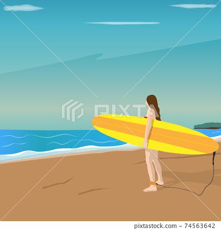 泳裝的一名婦女站立在拿著衝浪板的海灘上海手段衝浪的衝浪者 74563642
