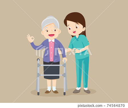 Nurse Caring for the elderly woman 74564870