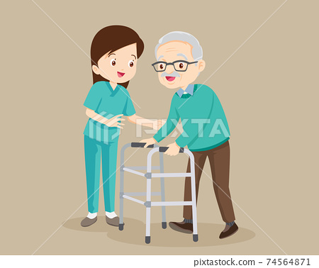 Nurse Caring for the elderly man 74564871
