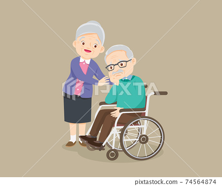 grandmother soothes a grieving grandfather sitting on a wheelchair 74564874