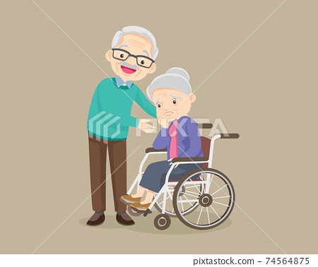 grandfather soothes a grieving grandmother sitting on a wheelchair 74564875