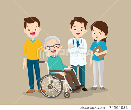 Doctor and elderly male patient recovered from illness 74564888