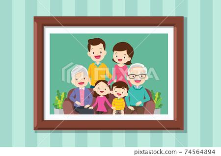 big family Photo in frame 74564894