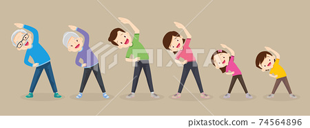 big family exercising together 74564896