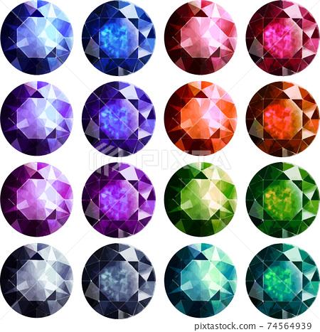 輝煌切割的寶石16件矢量素材 74564939