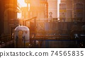 Refinery factory with oil storage tanks 74565835