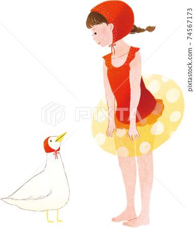 鴨子,浮標和女孩 74567173