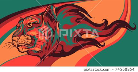 Jaguar head Flame vector illustration design art 74568854