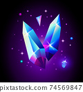 Abstract trendy cosmic poster with crystal gems and pyramid geometric shapes in space. Neon galaxy background. 80s style. Poster with geometric polygon pyramid or crystal. Vector illustration. 74569847