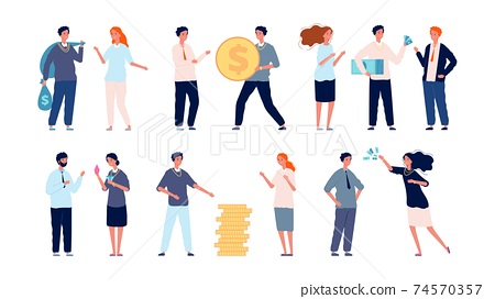 Attraction of investments. Voluntary donations, rich people make profitable contributions vector set 74570357