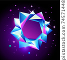 Abstract trendy cosmic poster with crystal gems frame and pyramid geometric shapes in space. Neon galaxy background. 80s style. Poster with geometric polygon pyramid or crystal. Vector illustration. 74571448