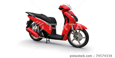 Modern urban red moped on a white background. 3d illustration. 74574339