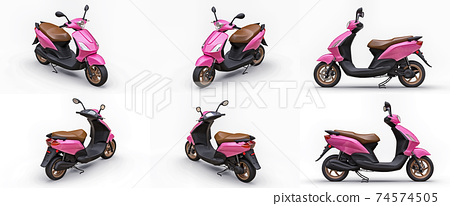 Set modern urban pink scooter on a white background. 3d illustration. 74574505