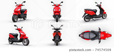 Set modern urban red scooter on a white background. 3d illustration. 74574509