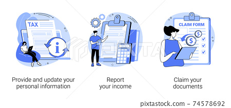 Tax filing abstract concept vector illustrations. 74578692