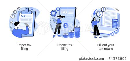 Tax return deadline abstract concept vector illustrations. 74578695