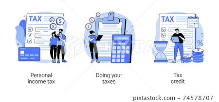 Years tax bill abstract concept vector illustrations. 74578707