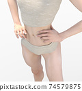 Slender woman perming 3DCG illustration material 74579875