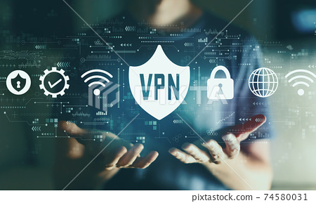 VPN concept with young man 74580031