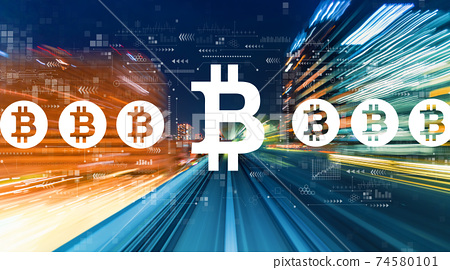 Bitcoin theme with high speed motion blur 74580101
