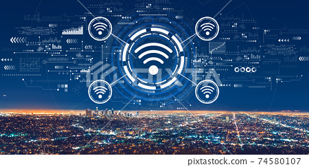 Wifi theme with downtown Los Angeles 74580107